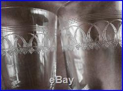 12 verres en cristal gravé frise art nouveau 6 à vin + 6 à porto Baccarat