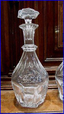 2 anciennes carafes cristal taillé liqueur whisky de baccarat epoque 1920 marque