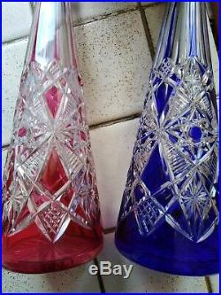 2 carafes en cristal de baccarat