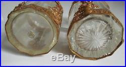 2 flacons Cristal taillé en facettes Baccarat monture bronze laiton Napoléon III