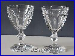 2 verres à vin cristal de baccarat modèle Harcourt signés H 13.5 cm