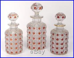 3 flacons de toilette cristal taillé Baccarat XIXème siècle