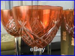 4 Verres A Vin Du Rhin Cristal Signes Baccarat