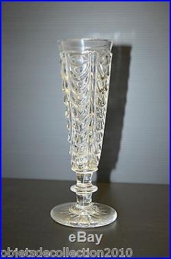 6 FLUTES CHAMPAGNE CRISTAL BACCARAT décor DRAPERIE Cristal moulé du CREUSOT XIX