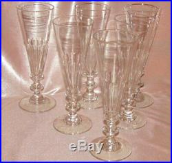 6 ancienne flûtes à Champagne cristal Saint-Louis Baccarat cotes plates Caton