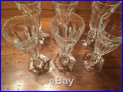 6 flûtes à champagne en cristal BACCARAT modèle Harcourt 1841 Estampillées