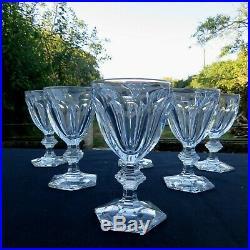 6 verres à eau en cristal de baccarat modèle harcourt signé H 15,5 cm