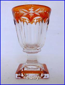 6 verres à liqueur en CRISTAL DE BACCARAT overlay ORANGE époque milieu XIXe