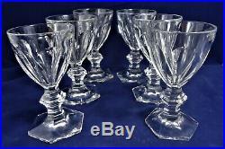 6 verres vin blanc cristal Baccarat Harcourt Réf A26/26 12,4 cm wine glasses