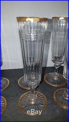 8 flûtes à champagne en cristal dore a l or de Baccarat ou saint louis