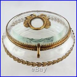 Ancien Boite Bonbonnière Cristal & Bronze baccarat/saint-louis/box/19th/louisXVI