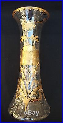 Ancien vase cristal de baccarat émaillé à l'or / hauteur 40 cm / glass crystal