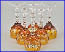 Ancienne 6 Verres Digestifs Cristal Taille Double Couche Couleur Baccarat Signe