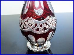 Ancienne Carafe En Cristal Couleur Et Monture Argent Massif Baccarat