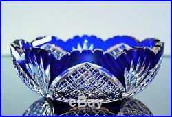 Ancienne Coupe Saladier Cristal Couleur Bleu Double Taille Baccarat 1908