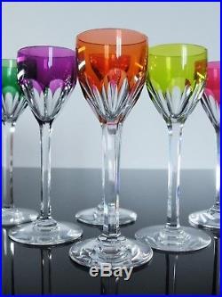Anciennes 6 Verres A Digestif Liqueur Cristal Couleur Genova Baccarat Signe