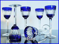 Anciennes Grand 6 Verres A Vin Cristal Couleur Modelé Armagnac Baccarat Signée