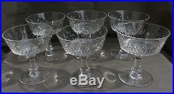 BACCARAT 6 COUPES A CHAMPAGNE EN Cristal Taillé modèle RICHELIEU