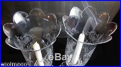 BACCARAT Paire De Bougeoirs Photophores, Cristal, Modèle Bambou, Tors, Début XXe