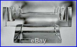 BACCARAT Paire de bougeoirs cristal taillé Art Déco Moderniste style Adnet 1930