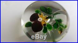 BACCARAT Presse Papier SULFURE XIXe 19e PENSEE Violet Jaune Etoile Cristal Boule