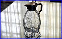 BACCARAT, & Rousseau. Verseuse en cristal ciselé et métal, Japonisant. CLICHY