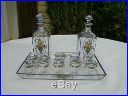 BACCARAT Service à liqueur Alcool Art nouveau en cristal émaillé à décor floral