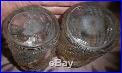 Baccarat 2 Flacons cristal pointes de diamants & fleurs dorées Art Nouveau