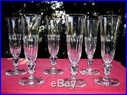 Baccarat 6 Sektgläser Flutes A Champagne Cristal Taillé Cotes Plates 19ème Ao