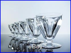 Baccarat/ 6 Verres Cristal Taille Cotes Plates Harcourt Talleyrand Signe
