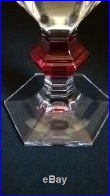Baccarat 6 Verres Harcourt 1841 Bouton Rouge Neufs Parfait Etat