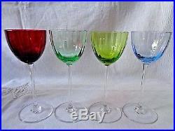 Baccarat Aquarelle Verres A Vin Roemers Roemer Cristal Doublé De Couleur Coloré