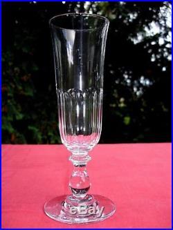 Baccarat Chaulnes 6 Flutes A Champagne Cristal Taillé Cotes Plates 19ème Xixème