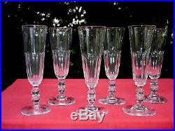 Baccarat Clermont 6 Flute A Champagne Cristal Taillé Cotes Plates 19ème Xixème