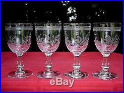 Baccarat Fougeres Wine Glasses Verres A Vin Cristal Gravé Jugendstil Art Nouveau