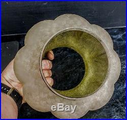 Baccarat Globe Cristal Givre Vert Lampe Petrole Lamp Oil Kerosene Shade Glass