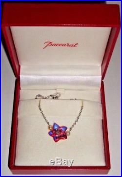 Baccarat Joli Bracelet Fleur Cristal Rose(signature + Boite) (argent 925)