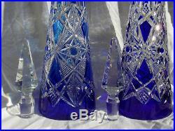 Baccarat Lagnypaire De Carafes Vin Du Rhin 41,5cm Overlay Bleu Cristal Taille
