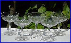 Baccarat Lot de 5 coupes à champagne en cristal taillé, catalogue 1907