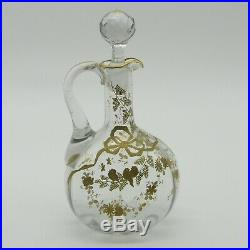 Baccarat, Montjoye ou Legras Carafe en cristal à décor émaillé or d'oiseaux XIXe