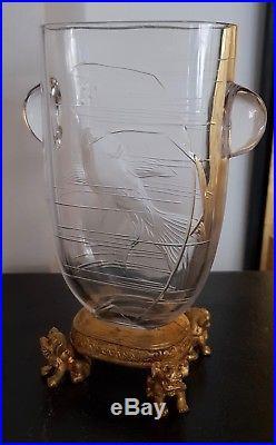 Baccarat Pour L'escalier De Cristal Vase Japonisant Cristal Et Bronze Doré 1880