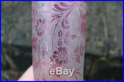 Baccarat Saint Louis Magnifique vase cylindrique à décor dégagé à l'acide