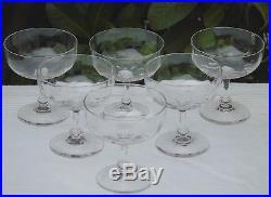 Baccarat Service de 6 coupes à champagne en cristal à côtes vénitiennes