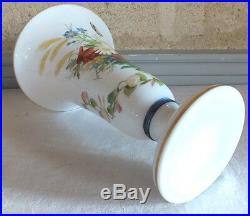 Baccarat opaline vase décor fleurs 19ème