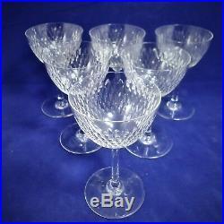 Baccarat, set 6 verres à vin blanc en cristal, grain de riz signés (2)
