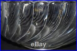 Beau Grand Saladier Coupe Cristal Baccarat Bambou Bordure Argent Minerve Coupe