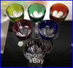 Belle Série de 6 verres en cristal coloré marqué Baccarat Modéle GENOVA