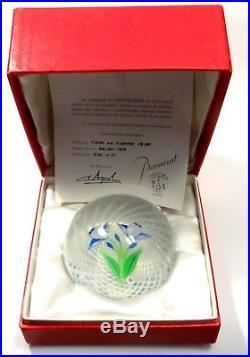 Boule Presse Papier Cristal Baccarat Sulfure Decor Floral Numerote Certificat