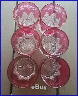 CRISTAL BACCARAT CHAMPIGNY Lot de 6 VERRES / GOBELETS ROUGE RUBIS H 8 cm