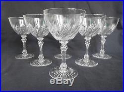CRISTAL de BACCARAT 6 verres à eau, rare modèle à motif taillé torsadé 8659